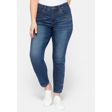 Slim Fit Jeans KIRA in Ankle-Länge, mit Knöpfen am Saum, blue Denim, Gr.44-58