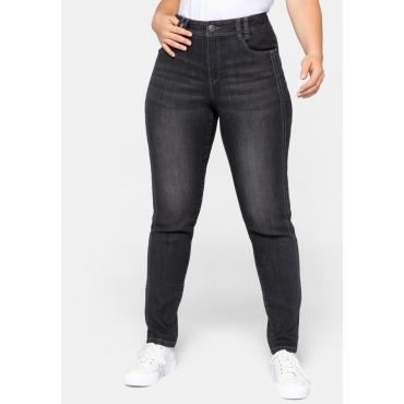 Slim Fit Jeans mit seitlichen Biesen und Used-Effekten, black Denim, Gr.44-58