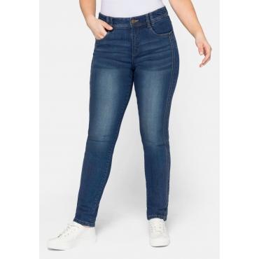Slim Fit Jeans mit seitlichen Biesen und Used-Effekten, blue Denim, Gr.44-58