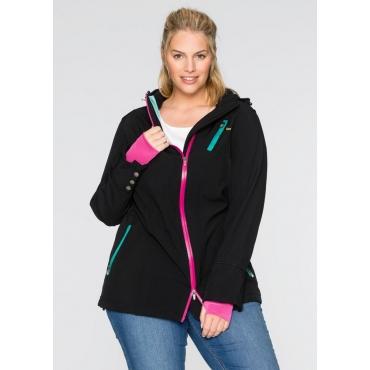 Große Größen: Softshell-Jacke mit Kontrast-Elementen, schwarz, Gr.40-54