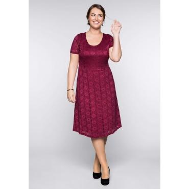 Große Größen: Spitzenkleid mit Bodyforming-Effekt und Innenkleid, rubinrot, Gr.44-58