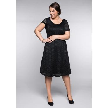 Große Größen: Spitzenkleid mit Bodyforming-Effekt und Innenkleid, schwarz, Gr.44-58