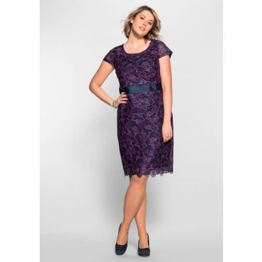 Große Größen: Spitzenkleid mit Taillenband, dunkelblau-magenta, Gr.40-58