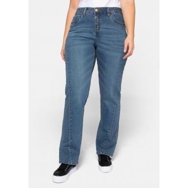 Straight Jeans LANA mit schräger Teilungsnaht vorn, blue Denim, Gr.44-58