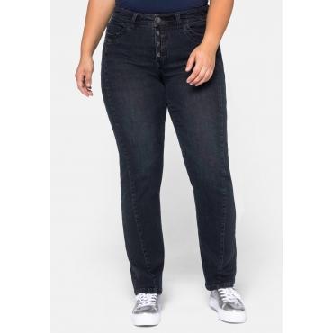 Straight Jeans LANA mit schräger Teilungsnaht vorn, dark blue Denim, Gr.44-58