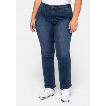 Straight Jeans VERENA mit Kontrastnähten, dark blue Denim, Gr.44-58