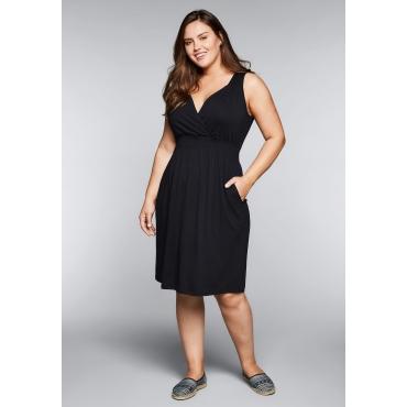 Große Größen: Strandkleid in Wickeloptik mit Taschen, schwarz, Gr.44-58