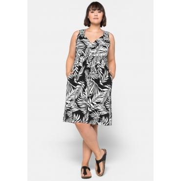Strandkleid in Wickeloptik mit Taschen, schwarz-weiß, Gr.44-58