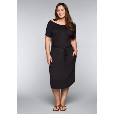 Große Größen: Strandkleid mit Bindeband und Carmenausschnitt, schwarz, Gr.44-58