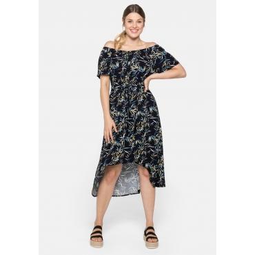 Strandkleid mit Blätterprint und Carmenausschnitt, schwarz-weiß, Gr.44-58