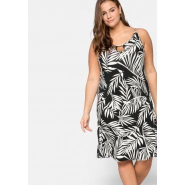 Strandkleid mit schmalen Trägern, schwarz-weiß, Gr.40-58