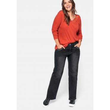Stretch-Jeans ELI mit extra-weitem Beinverlauf, black Denim, Gr.44-58