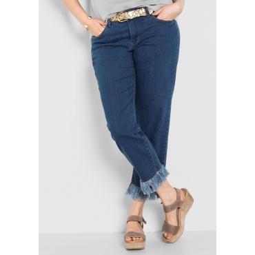 Große Größen: Stretch-Jeans in 7/8-Länge mit Fransen, blue Denim, Gr.40-58