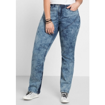 Große Größen: Stretch-Jeans in Moon-Washed-Optik, blue Denim, Gr.40-58
