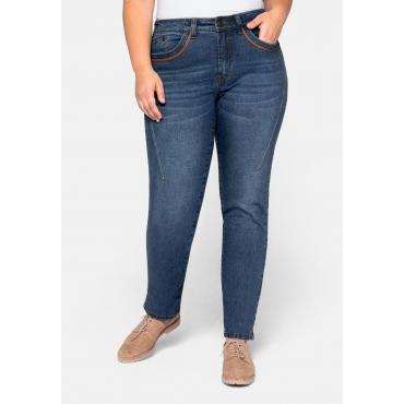 Stretch Jeans in schmaler Form, mit Kontrastnähten, blue Denim, Gr.44-58