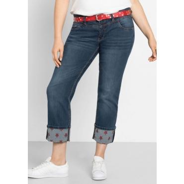 Große Größen: Gerade Stretch-Jeans LANA mit Sternen-Druck, blue Denim, Gr.40-58