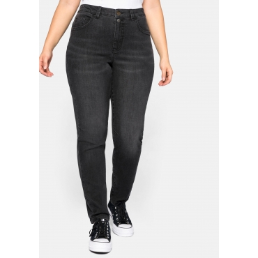 Stretch Jeans schmal, mit Abnähern am Knie, black Denim, Gr.44-58
