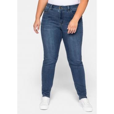 Stretch Jeans schmal, mit Abnähern am Knie, blue Denim, Gr.44-58