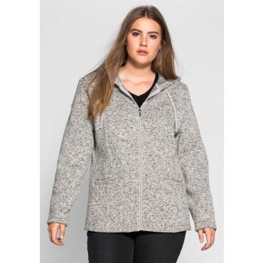 Große Größen: Strickfleece-Jacke mit Kapuze, grau meliert, Gr.40/42-56/58