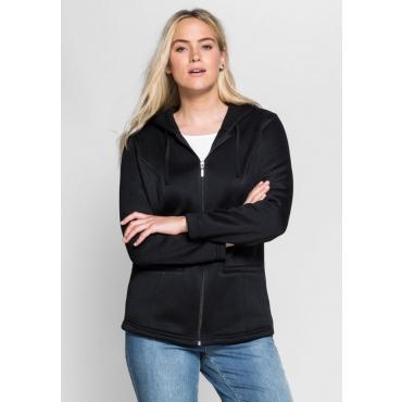 Große Größen: Strickfleece-Jacke mit Kapuze, schwarz, Gr.40/42-56/58