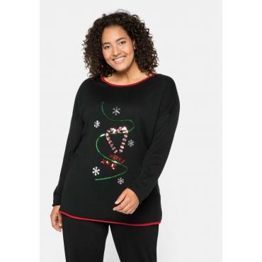Strickpullover mit gesticktem Weihnachtsmotiv, schwarz, Gr.44/46-56/58