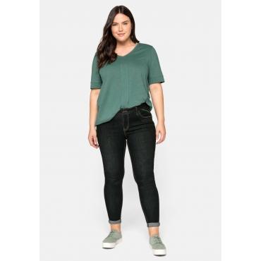 Super Skinny Jeans SUSANNE mit Kontrastnähten, black Denim, Gr.44-58