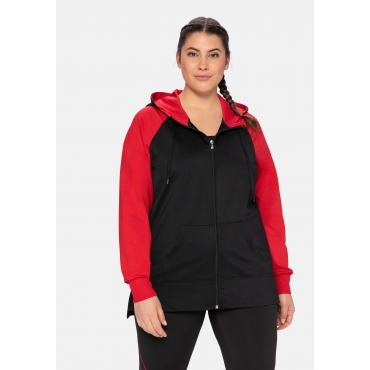 Sweatjacke mit Kapuze, im Colourblocking-Stil, schwarz-rot, Gr.40/42-56/58