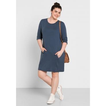 Große Größen: Sweatkleid mit Kängurutasche, jeansblau, Gr.44-58