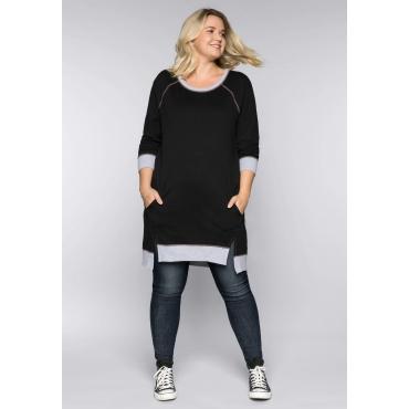 Große Größen: Sweatkleid mit kontrastfarbenen Nähten, schwarz, Gr.44-58