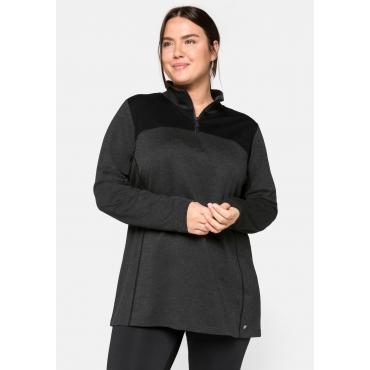Sweatshirt aus Funktionsmaterial, mit Stehkragen, grau-schwarz, Gr.44/46-56/58