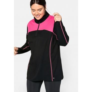 Sweatshirt aus Funktionsmaterial, mit Stehkragen, schwarz-pink, Gr.44/46-56/58