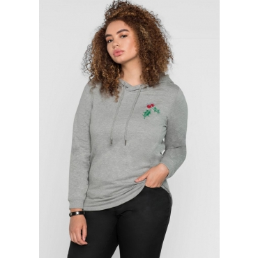 Große Größen: Sweatshirt im Christmas-Look, grau meliert, Gr.40/42-56/58