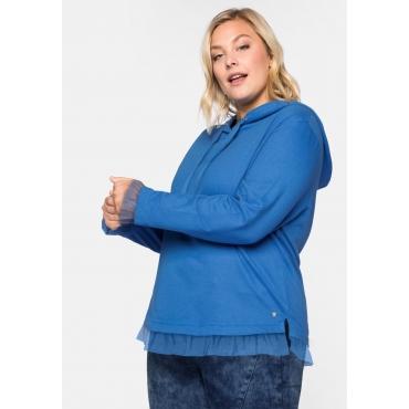 Sweatshirt im Lagenlook, mit Volant, azurblau, Gr.44/46-56/58