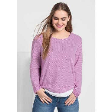 Große Größen: Sweatshirt in 2-in-1-Optik, dunkelfuchsia-weiß, Gr.40/42-56/58