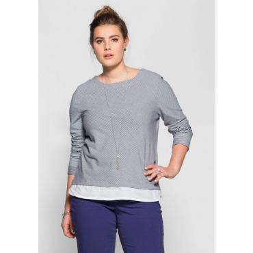 Große Größen: Sweatshirt in 2-in-1-Optik, marine-weiß, Gr.40/42-56/58