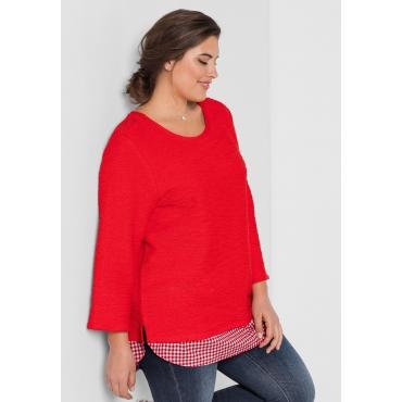 Große Größen: Sweatshirt in 2-in-1-Optik, mohnrot, Gr.44/46-56/58