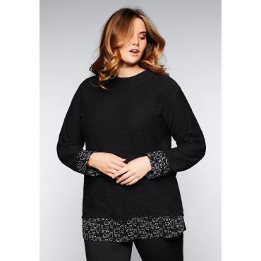 Große Größen: Sweatshirt in 2-in-1-Optik, schwarz, Gr.44/46-56/58