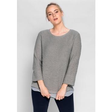 Große Größen: Sweatshirt in 2-in-1-Optik, steingrau, Gr.40/42-56/58
