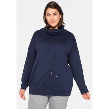 Sweatshirt in Interlock-Qualität mit Anti-Pilling, marine, Gr.44/46-56/58