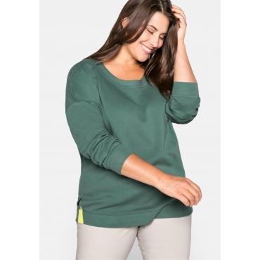Sweatshirt in Piqué-Optik, mit Kontrasteinsatz, opalgrün, Gr.44/46-56/58