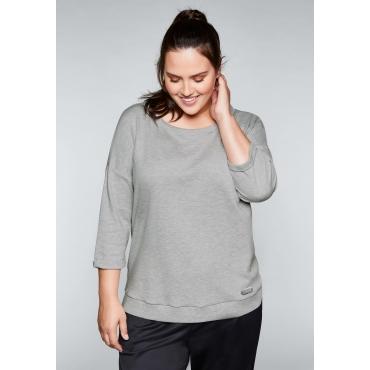 Große Größen: Sweatshirt mit 3/4-Arm, hellgrau meliert, Gr.44/46-56/58