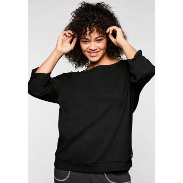 Sweatshirt mit 3/4-Arm und Rundhalsausschnitt, schwarz, Gr.44/46-56/58