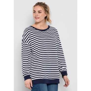 Große Größen: Sweatshirt mit Allover-Streifendruck, marine-weiß, Gr.44/46-56/58