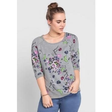 Große Größen: Sweatshirt mit Alloverdruck, grau meliert, Gr.40/42-56/58