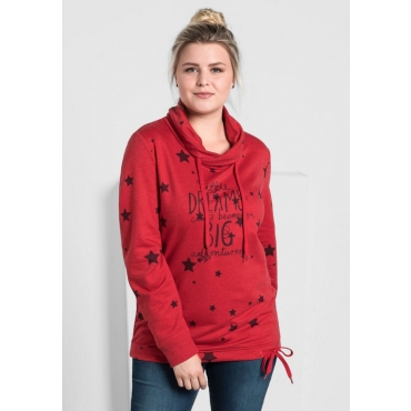 Große Größen: Sweatshirt mit Alloverdruck, karminrot, Gr.40/42-56/58