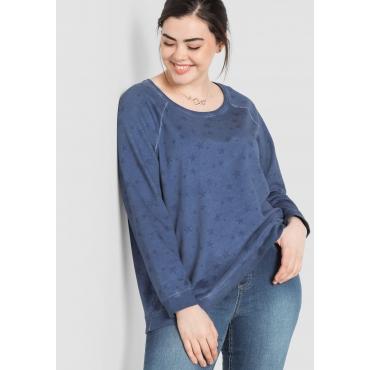 Große Größen: Sweatshirt mit Alloverdruck, rauchblau, Gr.44/46-56/58