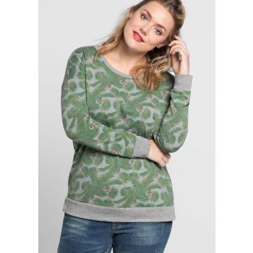 Große Größen: Sweatshirt mit Alloverdruck, steingrau bedruckt, Gr.40/42-56/58