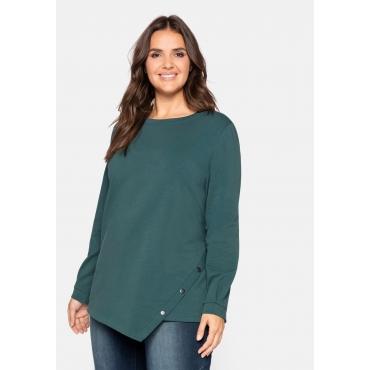 Sweatshirt mit asymmetrischem Saum, flauschig, jade, Gr.44/46-56/58