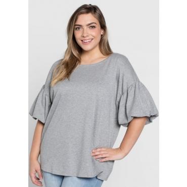 Große Größen: Sweatshirt mit Ballon-Ärmeln, grau meliert, Gr.44/46-56/58