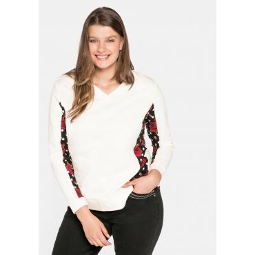 Sweatshirt mit bedruckten Bluseneinsätzen, offwhite, Gr.44/46-56/58
